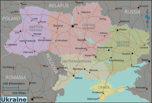 Coloured detailed map of Ukraine showing various regions
