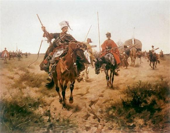 Colored painting of Cossack horsemen wielding weapons