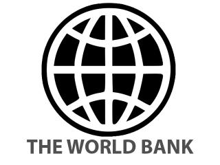 "Black and white logo of stylized globe with the words, ""The World Bank"" in capitals below."