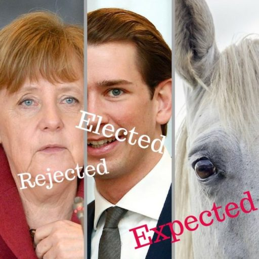 "3 Panels Side by Side. 1. Colored photograph of Angela Merkel with the word ""Rejected"" across it. 2. Colored photograph of Sebastian Kurz, with the word ""Elected"" across it. 3. Colored photograph of a white horse's head representing the willful king ""rider of the white horse"" from Revelation 6 : 2"
