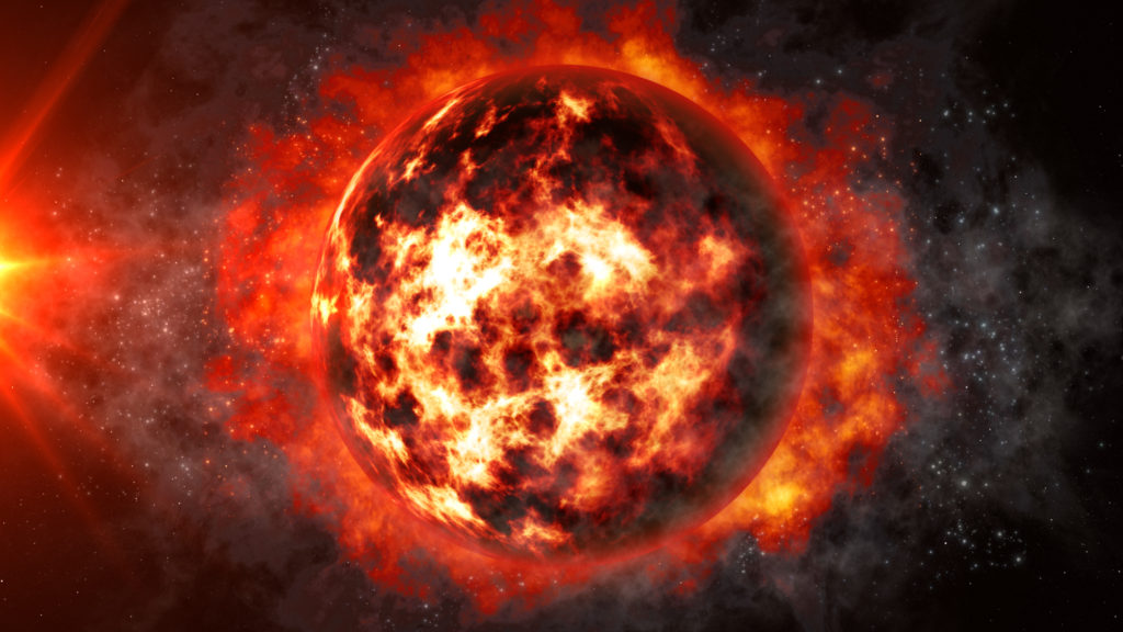 Colored photograph of a blackened planet covered  and surrounded by  flames and silhouetted by the blackness of space. Sun's rays on the left. Rumors of wars.