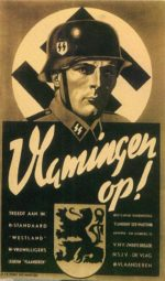 Colored poster in black to cream tones. Helmeted SS soldier in front of Nazi flag. Lower portion black with cream wording in Dutch above heraldic lion. European army grow.