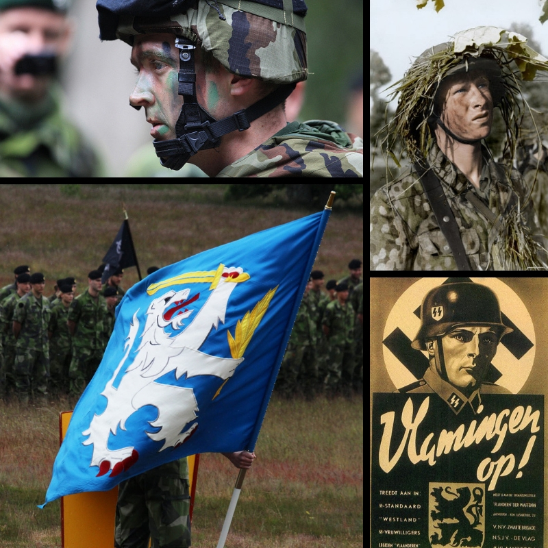 Multiple pictures showing SS Grenadier over Dutch Waffen SS recruiting poster next to Nordic Battle Group soldier with the Battle Group's heraldic blue and white flag below. European army grows.
