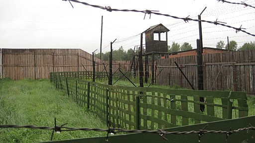 Colored photograph of fences and watchtower of abandoned Gulag prison camp. Brown structures, green grass, gray sky. Barbed wire. One flesh.